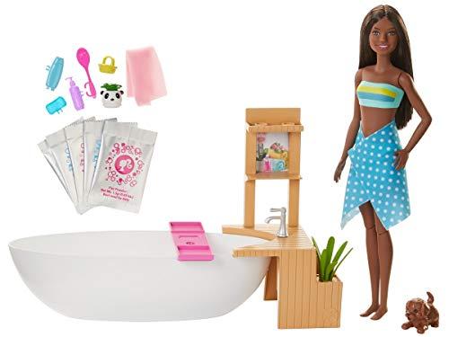 Barbie Bien-être coffret Bain Coloré avec poupée brune, baignoire, figurine chiot et accessoires, jouet pour enfant, GJN33