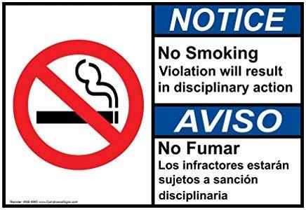 ANSI NOTICE geen roken info in het Engels + Spaanse metalen waarschuwingsborden, prive-teken, tuin hek werf teken