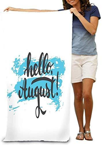 Toalla De Playa Hello August The Blue Sketch The White Súper Absorbente Personalidad Toalla De Baño Manta De Playa Toallas para El Hogar, El Baño, La Playa Y La Piscina, 80X130Cm