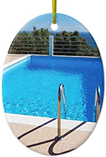 Blue Swimming Pool Steps at Sea Ceramic Ornament