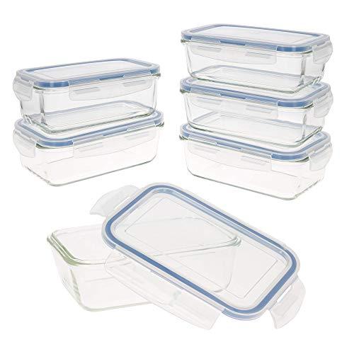 AKTIVE - Set 6 contenedores Alimentos herméticos, Vidrio, 19 x 13.5 x 6.5 cm, 800 ml