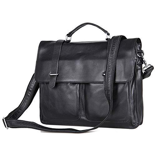 Bolso de la Cartera del Organizador del Negocio de Vintage 15 Pulgadas Laptop Messenger Bag Breifcase Satchel para Hombres y Mujeres Bolso Maletín para Hombres (Color : Negro)