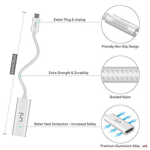 uni USB C auf HDMI Adapter (4k@60Hz), USB Typ C zu HDMI [Thunderbolt 3 kompatibel] für MacBook Pro, MacBook Air, iPad Pro, Dell XPS 15, Surface Book 2/Go, Galaxy S10 usw. - Silver