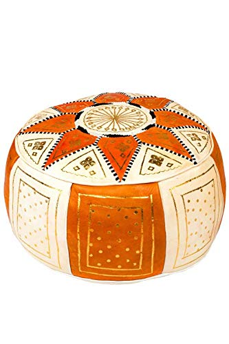 Orientalischer runder Pouf aus Leder ø 45cm Rund 30cm Hoch inklusive Füllung | Marokkanisches Sitzkissen Sitzpouf Kissen Merzougha Beige Orange | Marokkanischer Hocker Sitzhocker Fusshocker