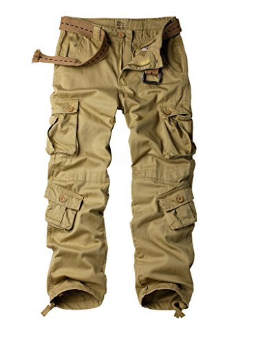 AKARMY Must Way Men's Cotton Casual Military Army Camo Combat Work Cargo Pants with 8 Pockets Khaki 34