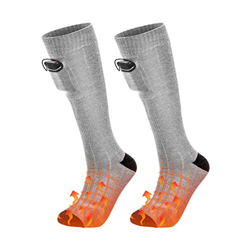 softeen Heated Socks for Men Women, Rechargeable Washable Heated Socks with 3 Kinds of Temperature Adjustments (up to 140℉), Double Sided Heated Socks for Ice Fishing Skating Skiing Camping