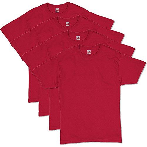 Hanes Men's ComfortSoft Short Sleeve T-Shirt (4 Pack ),Deep Red,X-Large