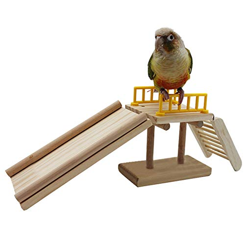 QBLEEV Bird Toys, Slide Training Ladder Trick Parrots Toys, Intelligence Educational Prop Table Cage Top Foot Toys, Birds Perch Platform for Conures Parakeets Cockatiels