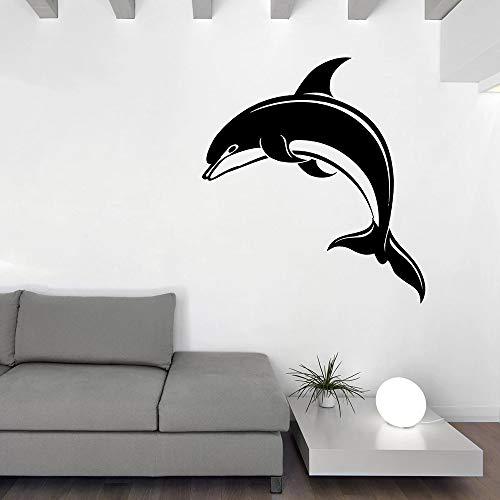 jiushivr Große Vinyl Wandtattoo Delphin Art Meerestier Aquarium Aufkleber Innendekoration Einzigartiges Geschenk Kunst Wandbilder Einfach Niedlich Lustig 57x62cm