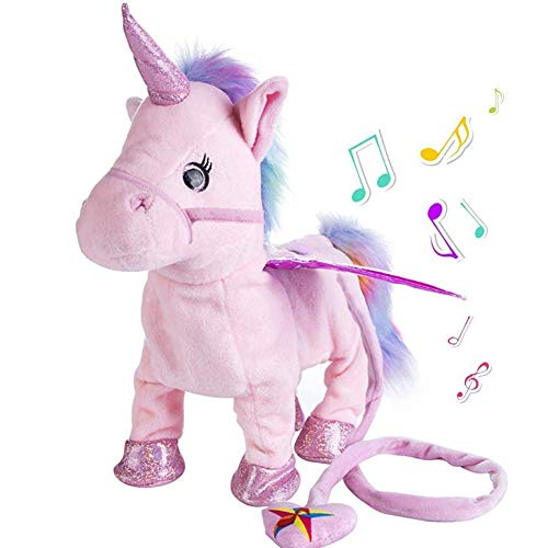 Abester Electric Walking Unicorn Plush Toy Stuffed Animal Toy, Magic Singing Leash Little Pony Toy for Toddlers Girls Boys,Kids & Pets (Pink)