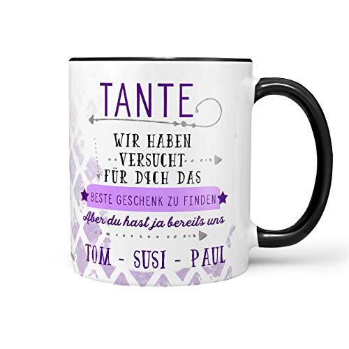 Sunnywall Tante Tasse Kaffeebecher Lieblingstasse Geburtstags-Tasse Geschenk-Tasse inkl. gratis Geschenkkarte Finden wir schwarz