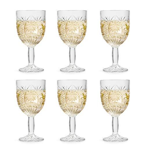 Libbey Bicchiere da vino Atik - 230 ml / 23 cl - Set di 6 Pezzi - Motivo a Stella - Lavabile in Lavastoviglie