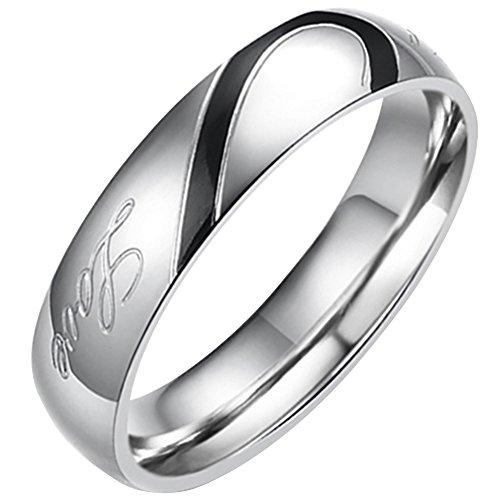 Flongo Partnerringe Damenring Herrenring Ring Edelstahl Band Ring Silber Valentine Paar Ringe Verlobung Engagement Verlobungsringe Hochzeit mit Real Love Gravur Herz Herren 65MM