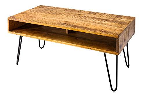 DuNord Design Couchtisch Massivholz Industriedesign 100cm Natur Mango