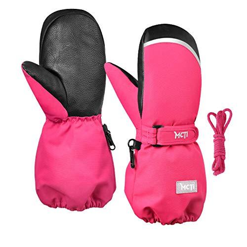 Kineed Fäustlinge Kinderhandschuhe Wasserdicht Handschuhe Kleinkind Snowboard Skihandschuhe 1-15 Jahre Kleinkinder Jungen Mädchen, Rot, XS (Herstellergröße: 6)