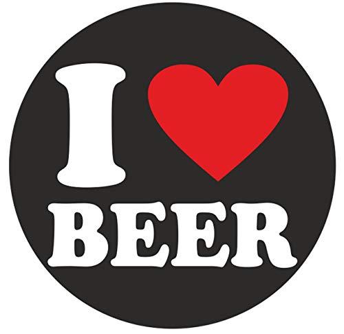 wetterfester Aufkleber I Love Beer ich Liebe Bier 10cm Alkohol Party Kneipe