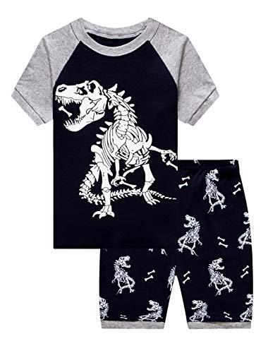 KikizYe Big Boys Dinosaur Glow in The Dark Pjs Summer Pajamas Short Sets 100% Cotton Navy Blue Kid 12