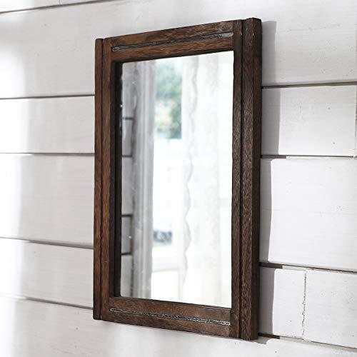 AAZZKANG Espejo rústico con marco de madera, rectangular, para pared, dormitorio, baño,...