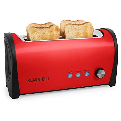 Klarstein Cambridge - Toaster, Doppel-Langschlitz-Toaster, 4-Scheiben-Toaster, Edelstahl, Brötchenaufsatz, 6-stufig einstellbarer Bräunungsgrad, Auftau-Funktion, Aufwärm-Funktion, rot