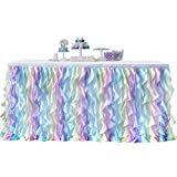 Bverionant Jupes de Table Jupe de Table en Tulle Romantique Décoration de Banquet Mariage Fête Douche de Bébé Décoration de Maison #2