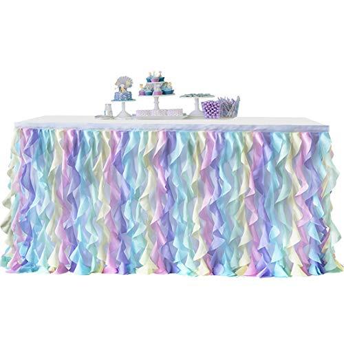 Bverionant - Falda de mesa de tul romántica para decoración de banquete, boda, fiesta de bebé, decoración del hogar #2