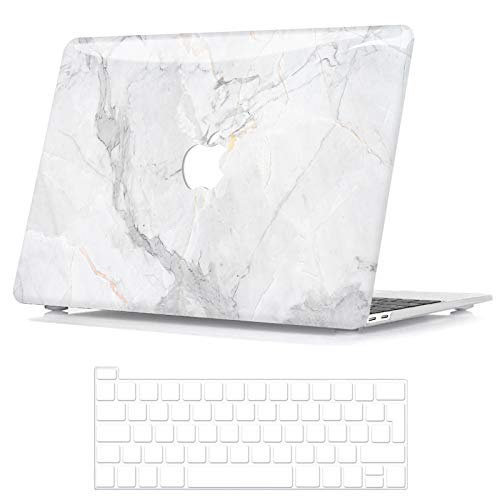 BELK Compatible with MacBook Pro 13 Inch Case 2020-2016 Release with/without Touch Bar A2338 M1 A2289 A2251 A2159 A1989 A1706 A1708, Smooth Pattern Plastic Hard Shell & Keyboard Cover, White Marble
