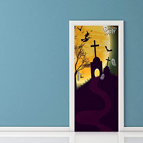 Door Wall Sticker Tombstone Under The Holy Month 3D Door Stickers Wooden Door Home Decoration Wall Stickers