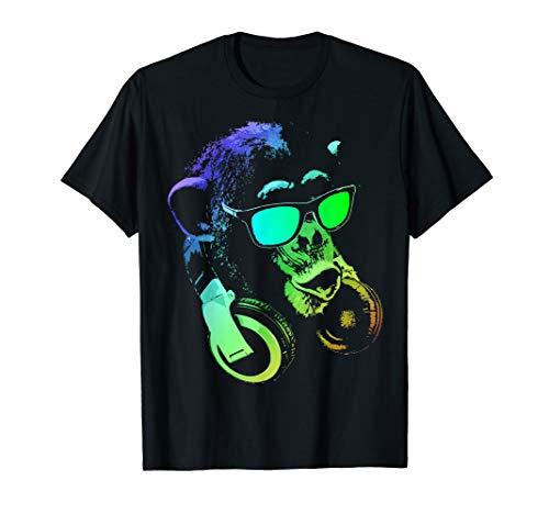 Monkey DJ mit Kopfhörer und Sonnenbrille T-Shirt