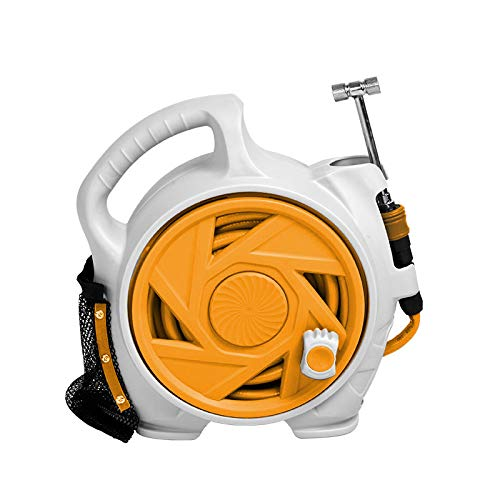 Kapler Air Hose Reels Retractable 50FT Air-Hose-Reel,Portable With Two Substitution Heads Hybrid Hose Reels (Orange))
