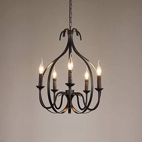 Antieke hanglamp schaduw rustieke Franse klassieke Aristokratische hanger kaars zwart kroonluchter landhuisstijl in de Europese woonkamer hanglamp, E14 hanglamp