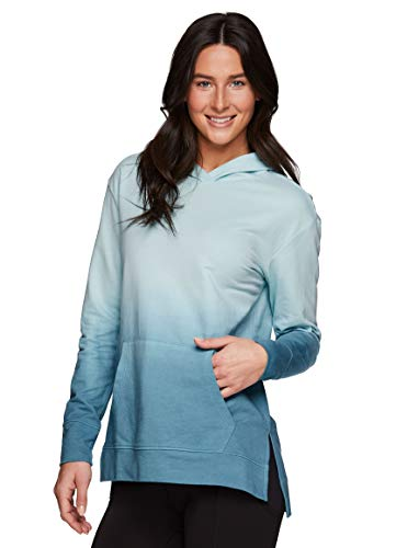 RBX Active Women's Fashion Lightweight French Terry Ombre Dip Dye Tie Dye Pullover Hoodie Sweatshirt Tunic With Pocket Hooded Ombre Blue L