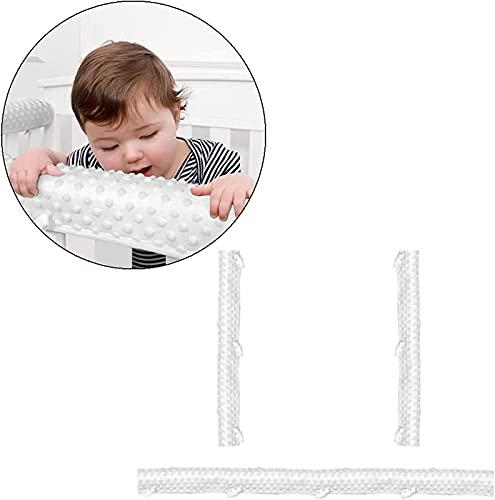 PW TOOLS Juego de Funda de riel de Cuna de bebé de 3 Piezas para 1 riel Frontal y 2 rieles Laterales, Protector de Parachoques de Cuna de bebé con Relleno de Microfibra de algodón Seguro