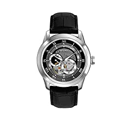 Bulova Classic Automatic Mens Stainless Steel with Black Leather Strap, Silver-Tone (Model: 96A135)