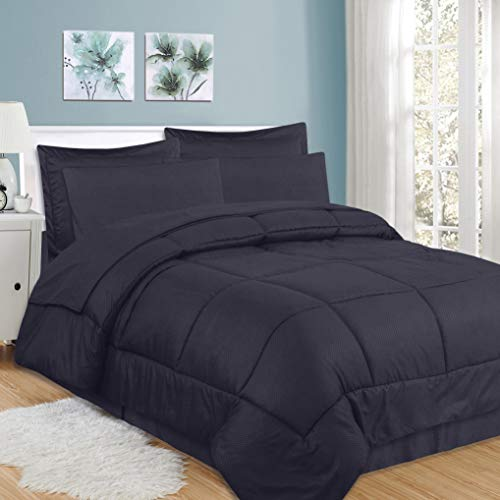 Sweet Home Collection 8 Piece Comforter Set Bag with Checkered Design, Bed Sheets, 2 Pillowcases, 2 Shams Down Alternative All Season Warmth, King, Navy
