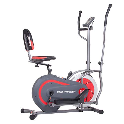 Body Power BRT5088 Trio Trainer Machine 3 in 1 Elliptical Trainer Upright Bike and Recumbent Bike, Encased Flywheel