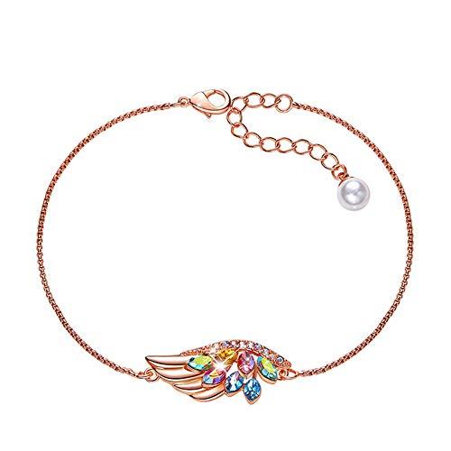 Cestbon Rose Gold Armreif Tennis Armband Damen Armband Feder Sterling Silber 925 Armkette Mutterstag Valentinstag,Gold