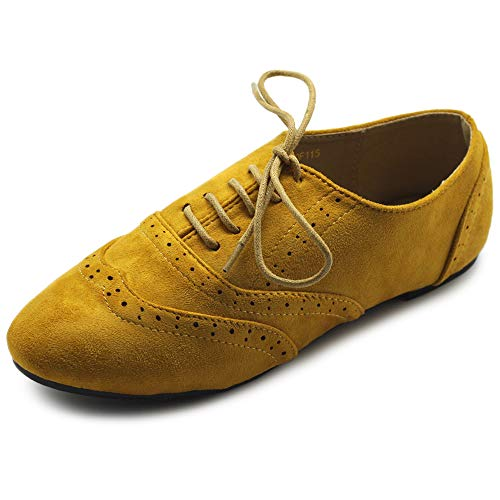 Ollio Women's Shoes Faux Suede Classic Wingtips Lace Up Oxfords F115 (9 B(M) US, Mustard)
