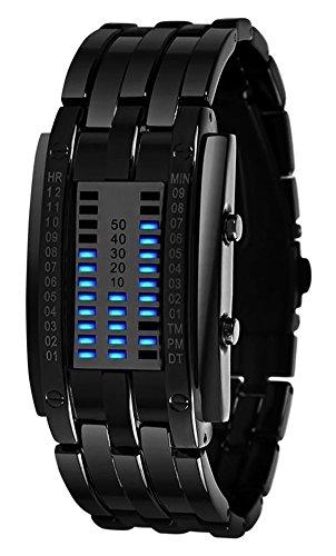 Disparo de Lujo de los Hombres de Acero Inoxidable Resistente al Agua Fecha Digital LED Pulsera Relojes Deportivos (Negro)