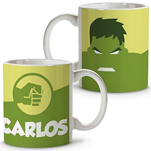 Taza Superhéroes Personalizada con Nombre. Regalo Friki. Varios Diseños y Colores Interior. Hulk