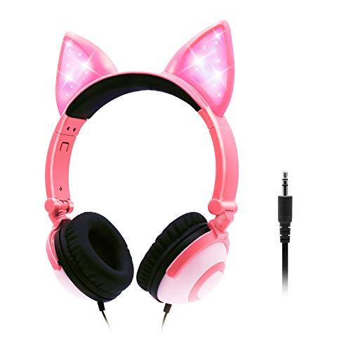 ONTA Écouteurs pour Enfants avec Oreilles De Chat Clignotantes LED Adorables, Écouteurs Pliables, Antibruit Et Réglables pour Tout-Petits Garçons Et Filles (Rose)