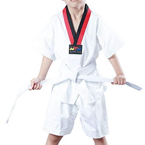 Yudesun Kampfsport Bekleidung Unisex Kinder Erwachsene Dobok Coach Taekwondo Gi Sets Performance - Judo Anzug Uniform Outfit Aikido Karate Kung Fu Training Wettkampf Gürtel Kurzarm 150cm