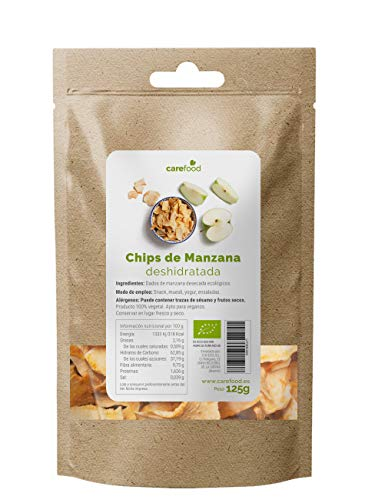Chips de Manzana deshidratada ecológica 125gr Carefood   100% natural BIO sin azúcar   Snack natural y saludable   Packaging Compostable 100% sin plásticos