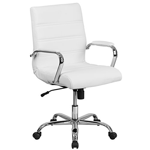 Flash Furniture Mid-Back White LeatherSoft Executive Swivel Office Chair with Chrome Base and Arms, BIFMA Certified
