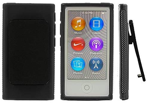 iPod Black Belt Clip TPU Rubber Skin Case Cover for Apple iPod Nano 7th Generation 7G 7