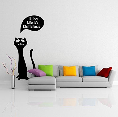 (51 x 90 cm) diseño de vinilo adhesivo decorativo para pared de gato/Kitty con mensaje en disfrutar de tu vida it's Delicious de Vinilo / + de tela al azar de gatito para frigorífico incluye figura decorativa y calcomanías para regalo!