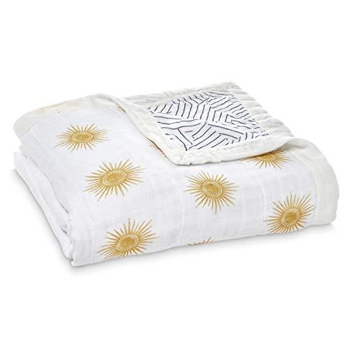 aden + anais - Couverture de rêve nouveau-né dream blanket silky soft prélavée en viscose de bambou somptueusement douce - Imprimé Golden Sun - Quadruple-épaisseur 120 cm x 120 cm