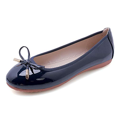 SAILING LU Women's Foldable Flat Shoes Portable Travel Ballet Flats Roll Up Slipper Shoes Navy Blue-P 42