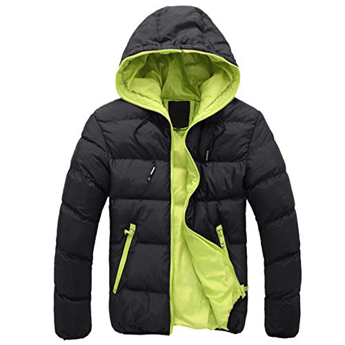RYTEJFES Chaqueta de invierno para hombre, con capucha, cálida, de plumón, ligera, para exterior, acolchada, de algodón, Negro , M