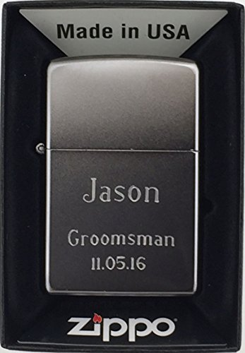 Personalized Groomsman Zippo Lighter with Free Engraving of Name and Wedding Date