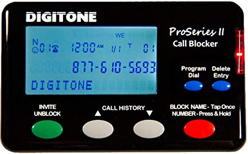 Digitone ProSeries II Call Blocker for Landline Phones - Automatic Blocker of Millions of Pre-Loaded Blocked Names and Numbers with Large Back-Lit Display